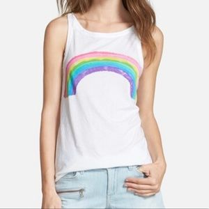 Chaser | White Burnout Watercolor Rainbow Tank—M